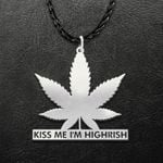 St. Patrick's Day Kiss Me I'm Highrish Handmade 925 Sterling Silver Pendant Necklace