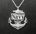 Proud navy mom Handmade 925 Sterling Silver Pendant Necklace