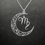 Zodiac Virgo Moon Phase Handmade 925 Sterling Silver Pendant Necklace