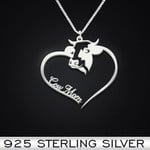Cow Heart Mom Handmade 925 Sterling Silver Pendant Necklace
