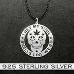 I bet my soul smells like weed Handmade 925 Sterling Silver Pendant Necklace