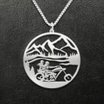 Motorcycle lover couple Handmade 925 Sterling Silver Pendant Necklace