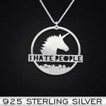 I Hate People Unicorn Handmade 925 Sterling Silver Pendant Necklace