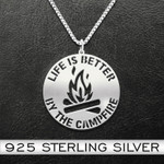 Camping Life Is Better By The Campfire Handmade 925 Sterling Silver Pendant Necklace
