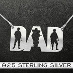 Dad The veteran The myth The legend Handmade 925 Sterling Silver Pendant Necklace
