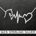 Horse heartbeat Handmade 925 Sterling Silver Pendant Necklace