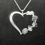 Reading Books In Heart Shape Handmade 925 Sterling Silver Pendant Necklace