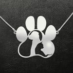 Dog Paw Dog And Cat Handmade 925 Sterling Silver Pendant Necklace