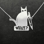 Cat What Cat With Knife Handmade 925 Sterling Silver Pendant Necklace