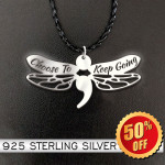 Suicide Prevention Awareness Semicolon Dragonfly Choose To Keep Going Handmade 925 Sterling Silver Pendant Necklace