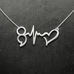Suicide Prevention Awareness Semicolon Heart Beat Handmade 925 Sterling Silver Pendant Necklace
