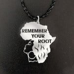Black Remember Your Root Black Girl Handmade 925 Sterling Silver Pendant Necklace