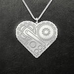 Cycling heart Handmade 925 Sterling Silver Pendant Necklace