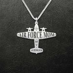 Military Air Force Mom Love My Airman Handmade 925 Sterling Silver Pendant Necklace