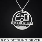 I Hate People Vans Handmade 925 Sterling Silver Pendant Necklace