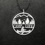 Camping Camp Life Bear Party Handmade 925 Sterling Silver Pendant Necklace