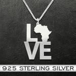 Black Africa love Handmade 925 Sterling Silver Pendant Necklace
