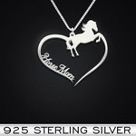 Horse Heart Mom Handmade 925 Sterling Silver Pendant Necklace