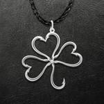 St. Patrick's Day Fishing Hook Shamrock Handmade 925 Sterling Silver Pendant Necklace