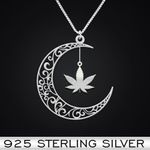 Weed Moon Handmade 925 Sterling Silver Pendant Necklace