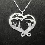 Hunting Huntman Pattern Antler Heart Handmade 925 Sterling Silver Pendant Necklace
