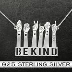 Deaf be kind Handmade 925 Sterling Silver Pendant Necklace