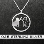 Cat High Five Handmade 925 Sterling Silver Pendant Necklace