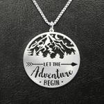 Camping Let The Adventure Begin Handmade 925 Sterling Silver Pendant Necklace