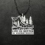 Life is better in hiking boots Handmade 925 Sterling Silver Pendant Necklace