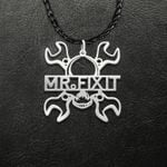 Mr. Fix It Mechanic Skull Cool Funny Dad Handmade 925 Sterling Silver Pendant Necklace