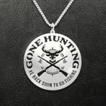 Hunting Gone Hunting Be Back Soon To Go Fishing Deer And Gun Handmade 925 Sterling Silver Pendant Necklace