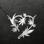 Weed leaf heart Handmade 925 Sterling Silver Pendant Necklace