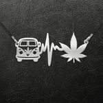 Weed heartbeat hippe vans Handmade 925 Sterling Silver Pendant Necklace