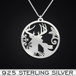 Deer couple Handmade 925 Sterling Silver Pendant Necklace