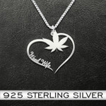 Weed wife heart Handmade 925 Sterling Silver Pendant Necklace