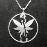 Weed Mary Jane Handmade 925 Sterling Silver Pendant Necklace