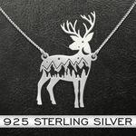 Deer Natural Pattern Deer Handmade 925 Sterling Silver Pendant Necklace