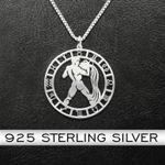 Zodiac Aquarius Handmade 925 Sterling Silver Pendant Necklace