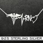 Nurse RN Heartbeat Handmade 925 Sterling Silver Pendant Necklace