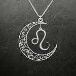 Zodiac Leo Moon Phase Handmade 925 Sterling Silver Pendant Necklace
