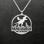 Tyrannosaurus Rex T-Rex Dinosaur Papasaurus With Grandkids Handmade 925 Sterling Silver Pendant Necklace