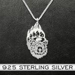 Bear Bear Paw Bear Sons Handmade 925 Sterling Silver Pendant Necklace