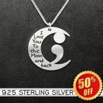 Suicide Prevention Awareness Semicolon I Love You To The Moon And Back Handmade 925 Sterling Silver Pendant Necklace
