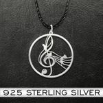 Music notes and cat Handmade 925 Sterling Silver Pendant Necklace