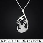 Hunting deer bird fish Handmade 925 Sterling Silver Pendant Necklace