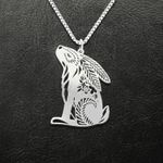 Rabbit Natural Pattern Rabbit Handmade 925 Sterling Silver Pendant Necklace