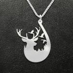 Fishing deer hunting Handmade 925 Sterling Silver Pendant Necklace