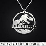 Dinosaur T-rex I hate people Handmade 925 Sterling Silver Pendant Necklace