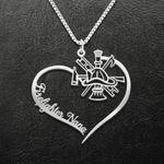 Firefighter Nana Heart Handmade 925 Sterling Silver Pendant Necklace