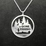 Fishing Gone Fishing Forest And Fishing Boat Handmade 925 Sterling Silver Pendant Necklace